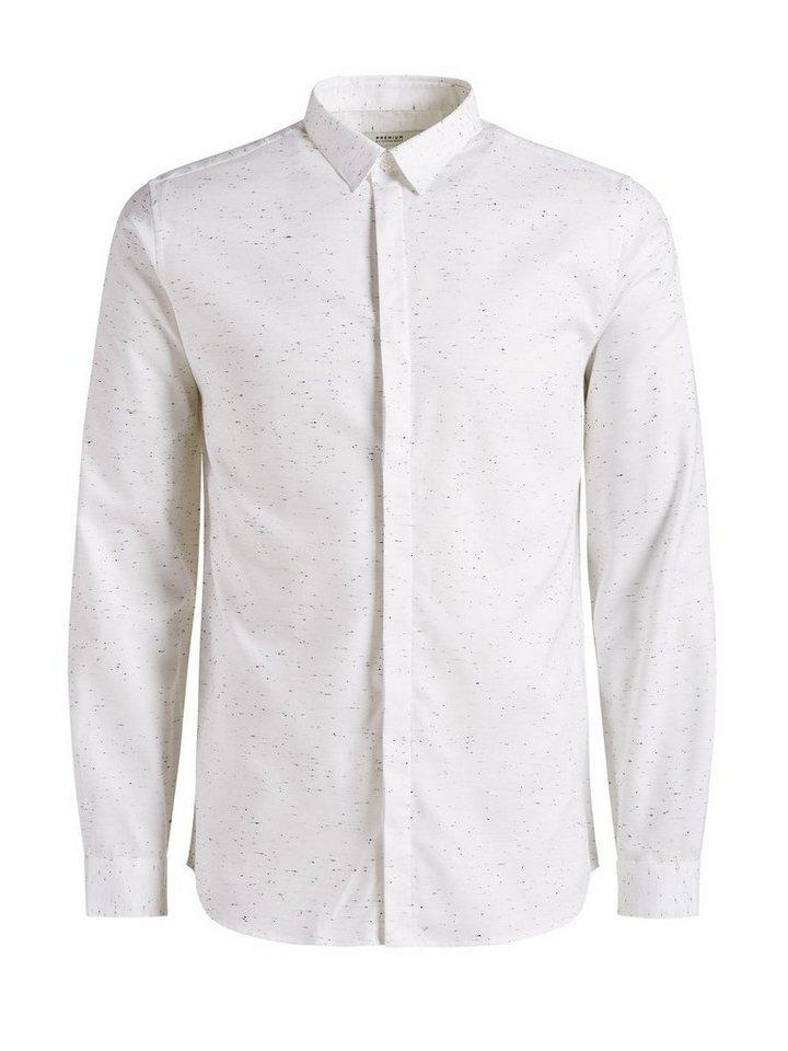 Jack & Jones Geknöpft, Melange Langarmhemd in White