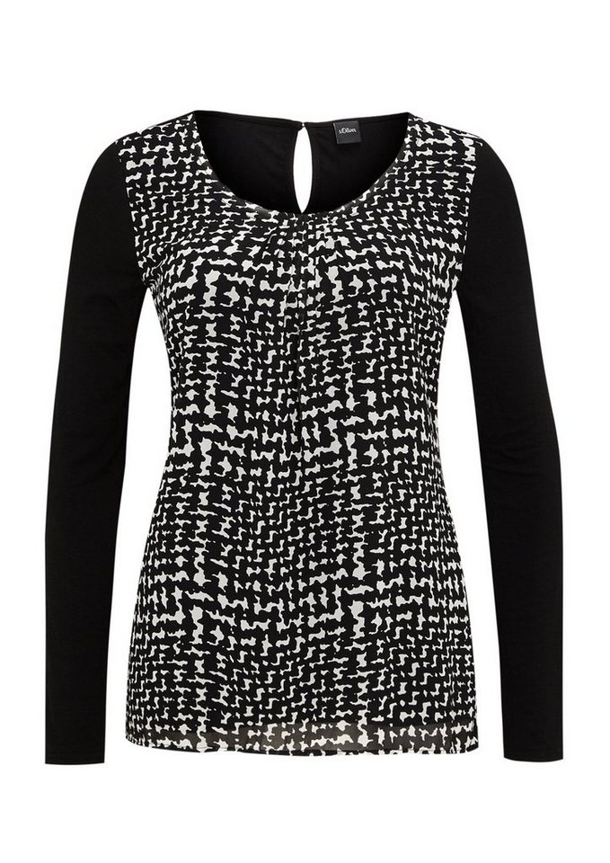 s.Oliver BLACK LABEL Langarmshirt mit Blusenfront in snakeprint AOP