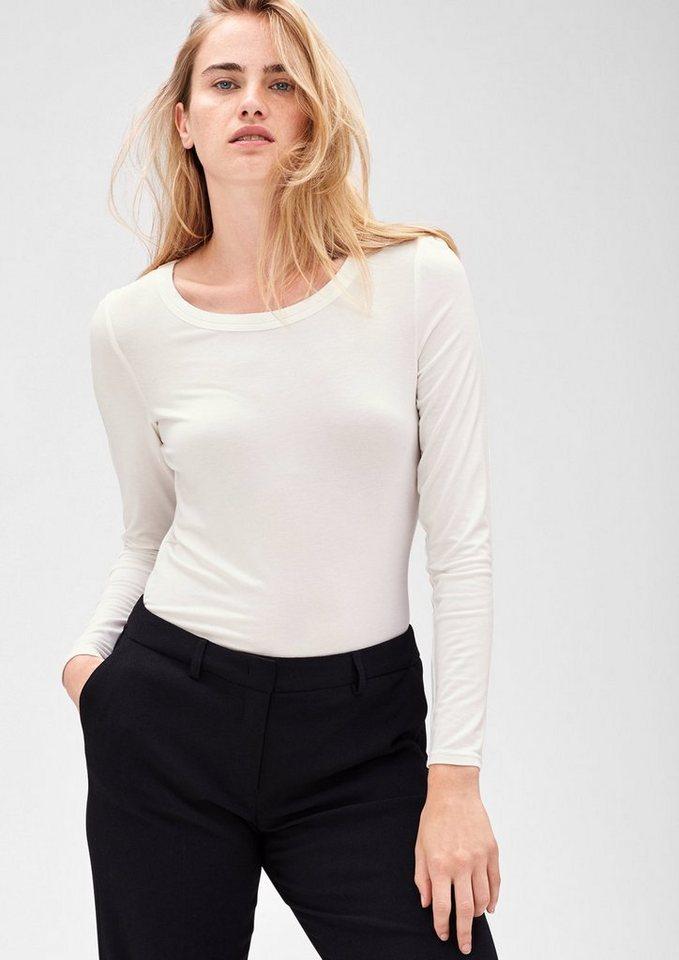 s.Oliver BLACK LABEL Schlichtes Jersey-Shirt in winter cream