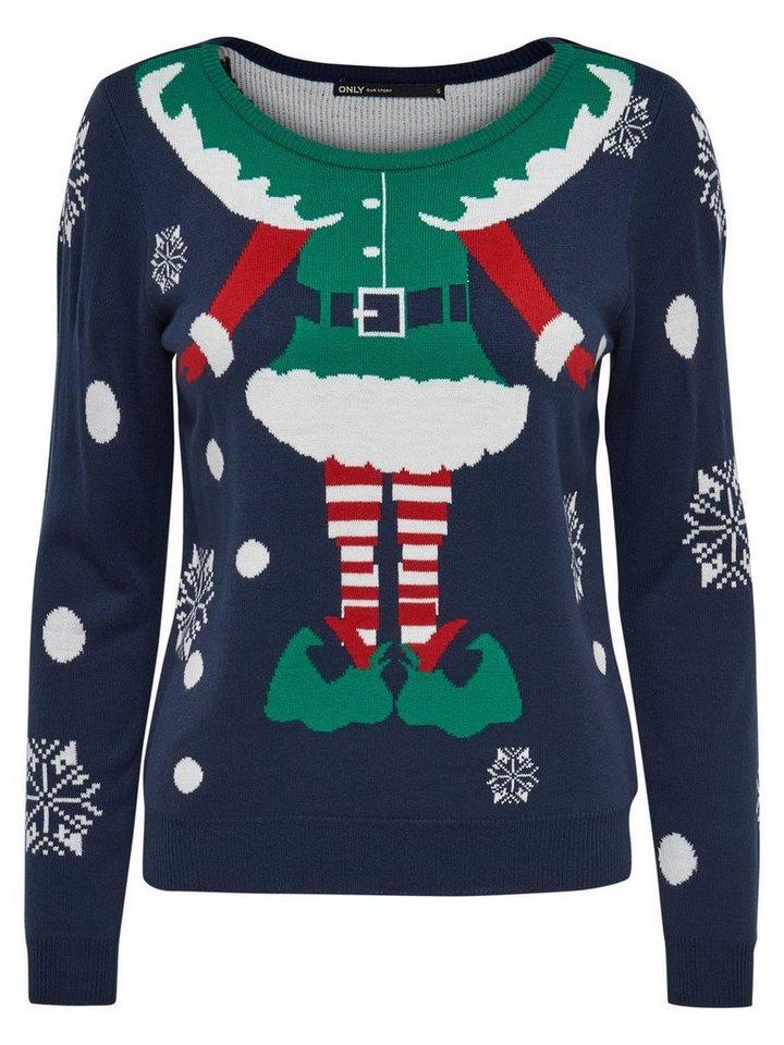 Only Weihnachts- Pullover in Navy Blazer
