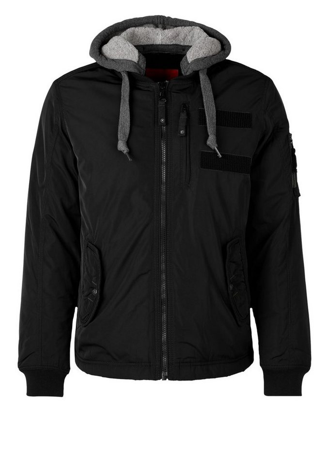 s.Oliver RED LABEL Gefütterte Nylon-Jacke mit Kapuze in black