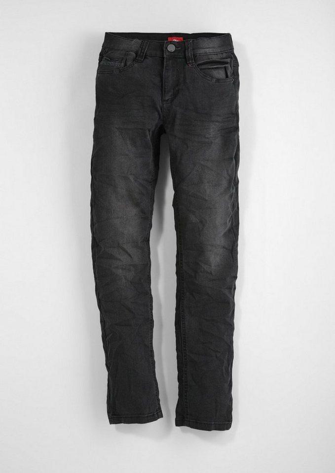 s.Oliver RED LABEL Junior Seattle Slim: Colored Stretch-Jeans für Jungen in grey denim stretch