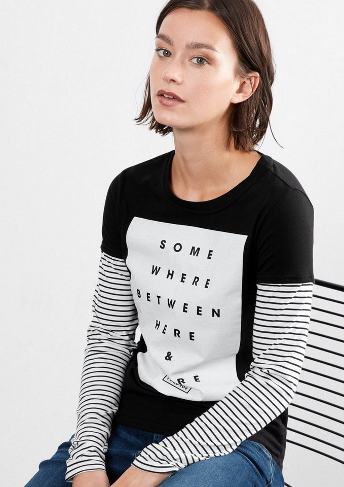 Q/S designed by Langarmshirt im 2-in-1-Look in black placed print