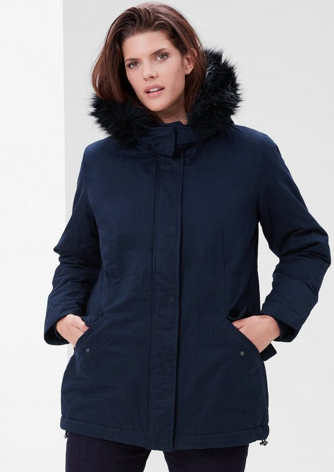TRIANGLE Outdoor-Jacke mit Fake-Fur in marine