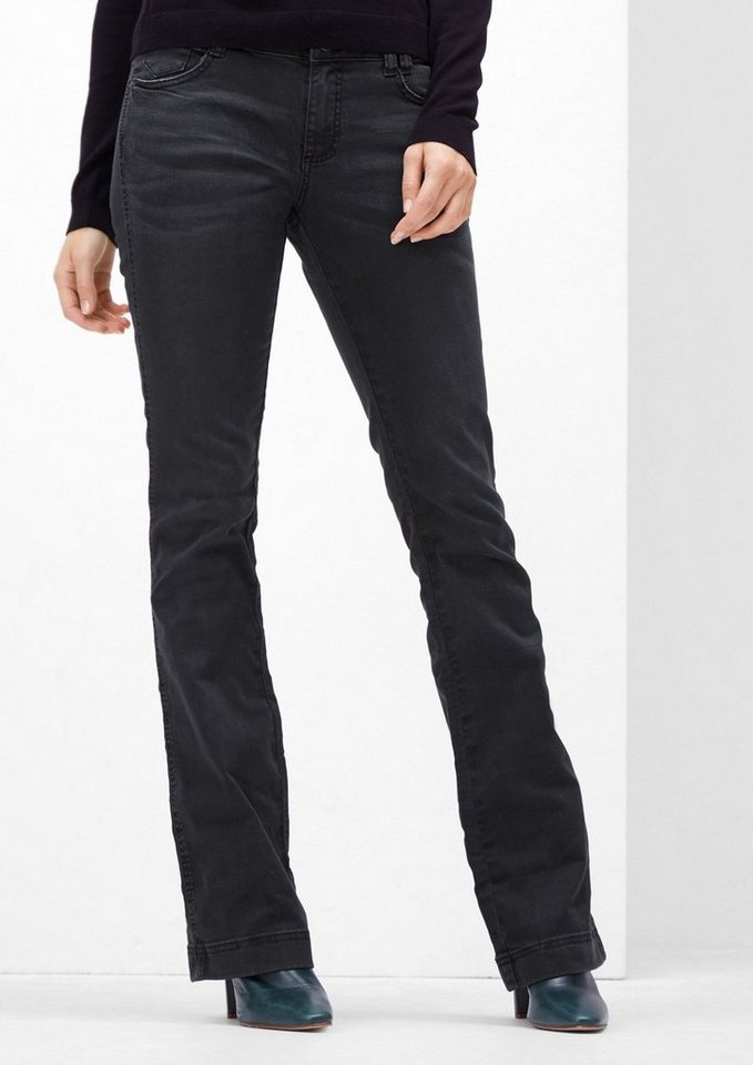 s.Oliver RED LABEL Shape Bootcut: Dunkle Schlagjeans in grey/black denim str