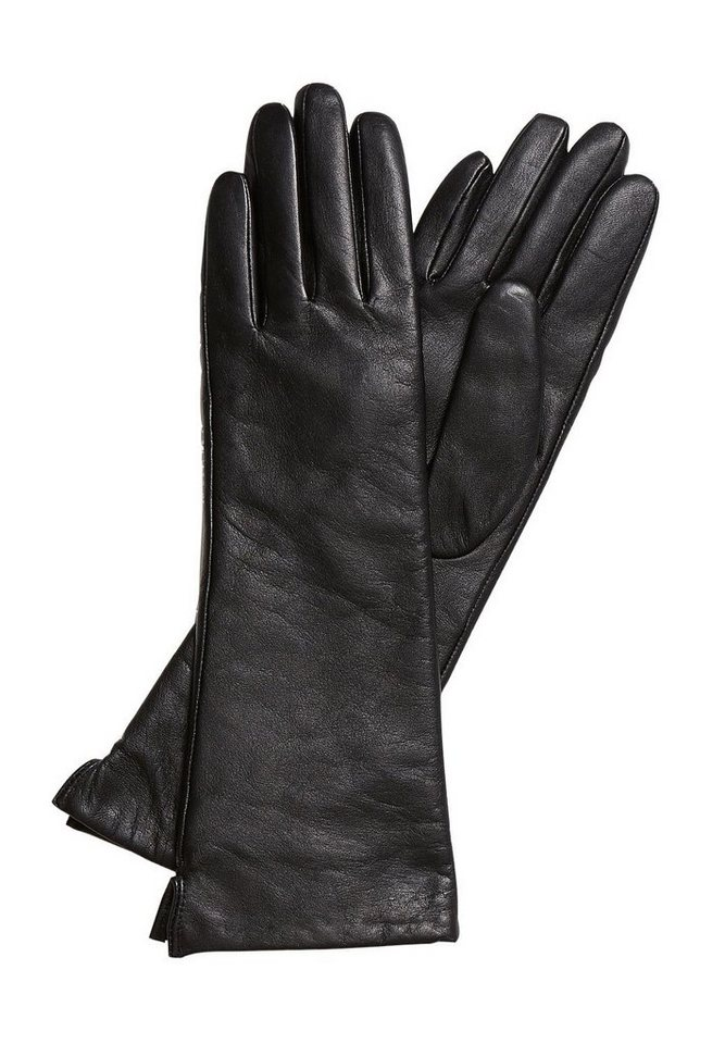HALLHUBER Lederhandschuhe in langer Form in schwarz