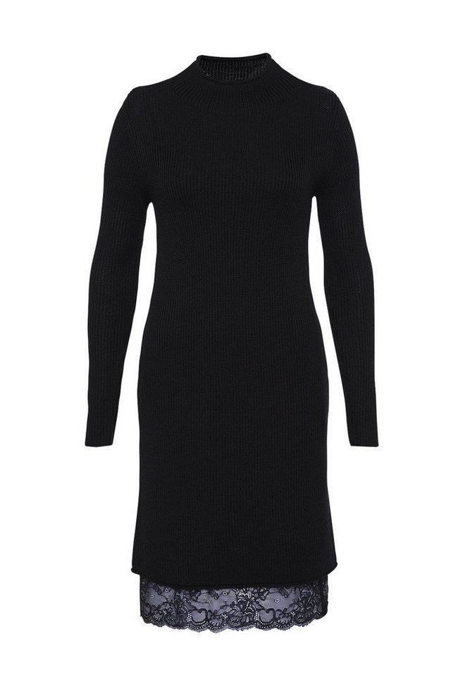 HALLHUBER Rippstrick-Kleid mit Spitze in schwarz