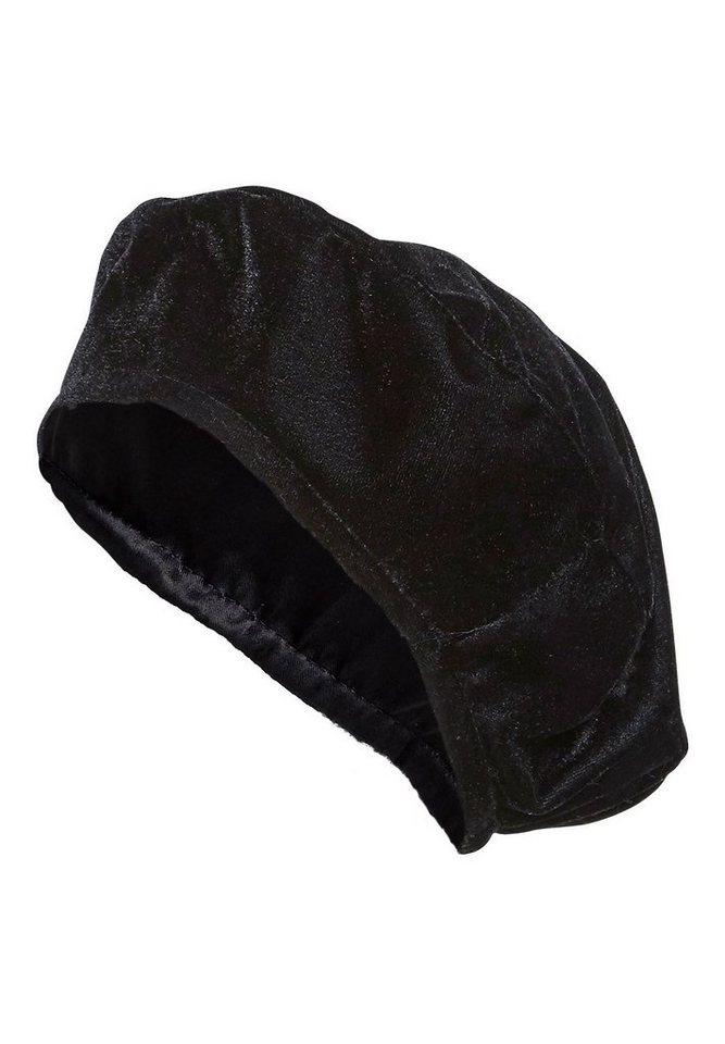 HALLHUBER Baskenmütze aus Samt in schwarz