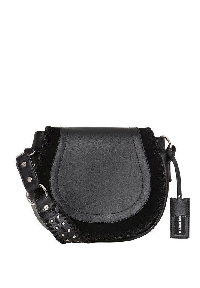 HALLHUBER Satteltasche mit Stitches und Nieten in schwarz
