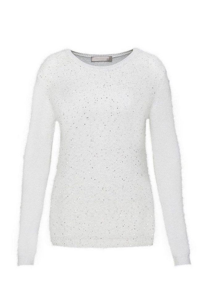 HALLHUBER Pailletten-Pullover mit Lurex in offwhite