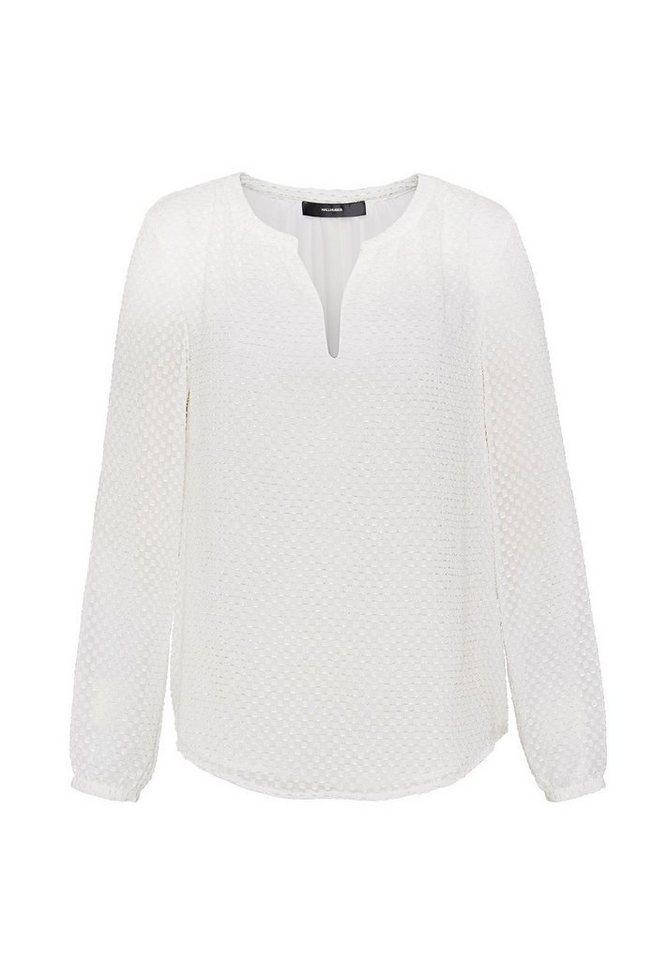HALLHUBER Jacquard-Bluse mit V-Ausschnitt in offwhite