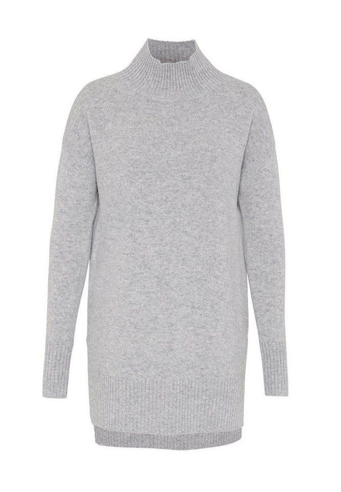 HALLHUBER Langer Oversize Pullover in hell silber-melange