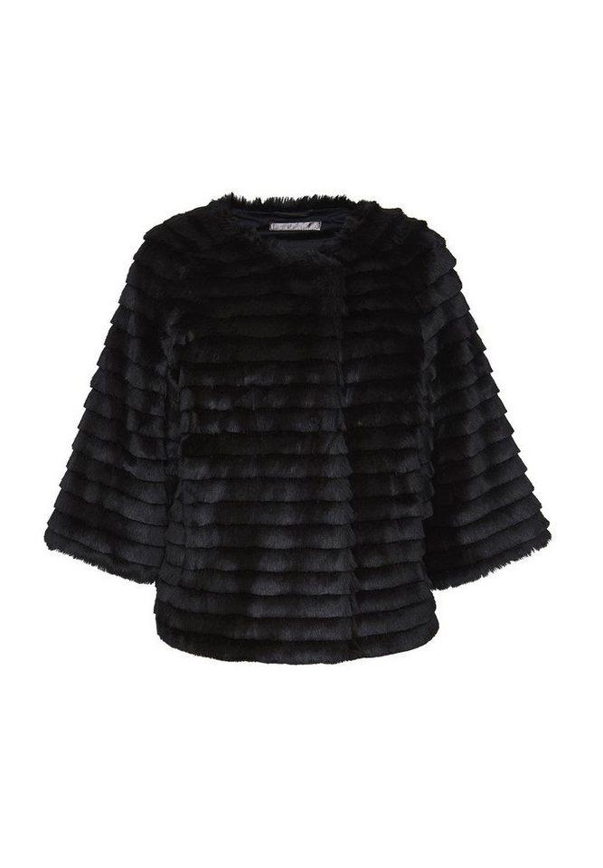 HALLHUBER Fake-Fur Jacke mit Dreiviertelärmeln in schwarz