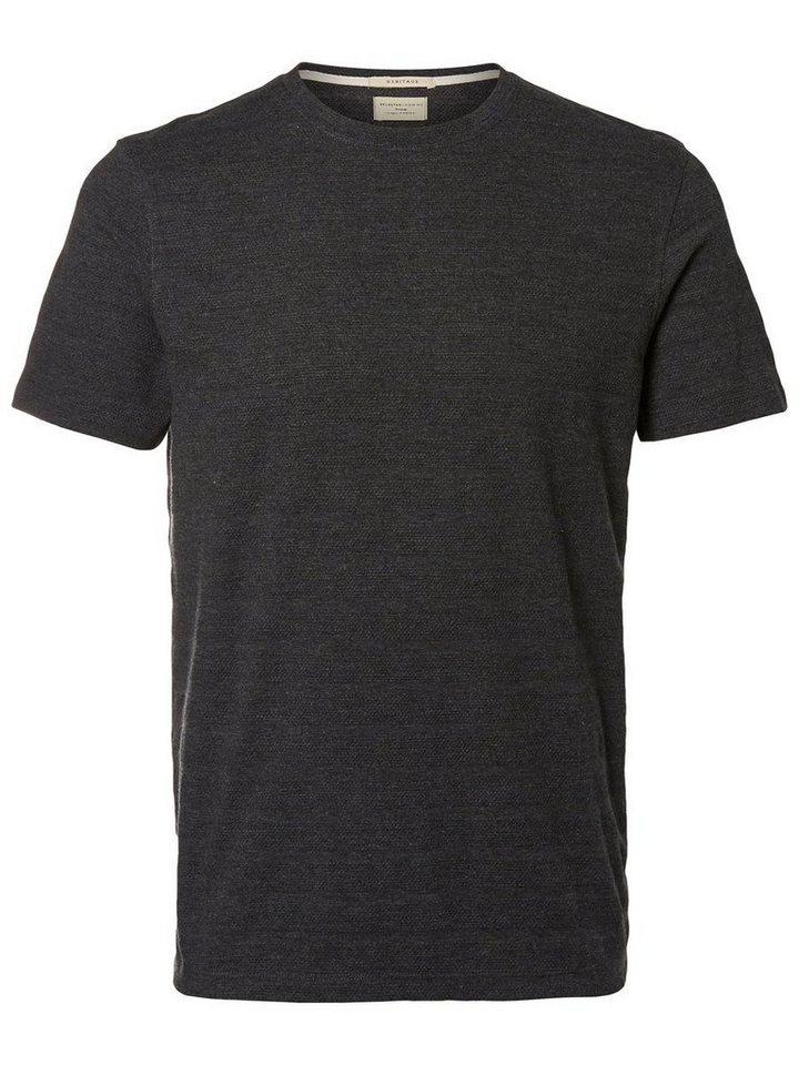 Selected Rundausschnitt- T-Shirt in Antracit