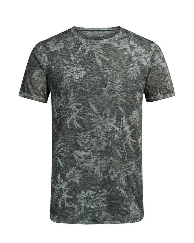 Jack & Jones Bleiches Blumen- T-Shirt in Olive Night