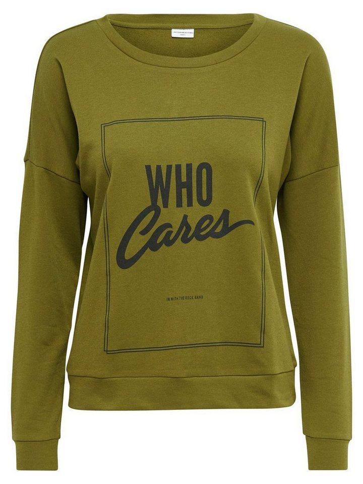 Only Bedrucktes Sweatshirt in Fir Green