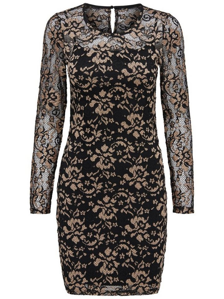 Only Lace gold Long Sleeved dress in Black