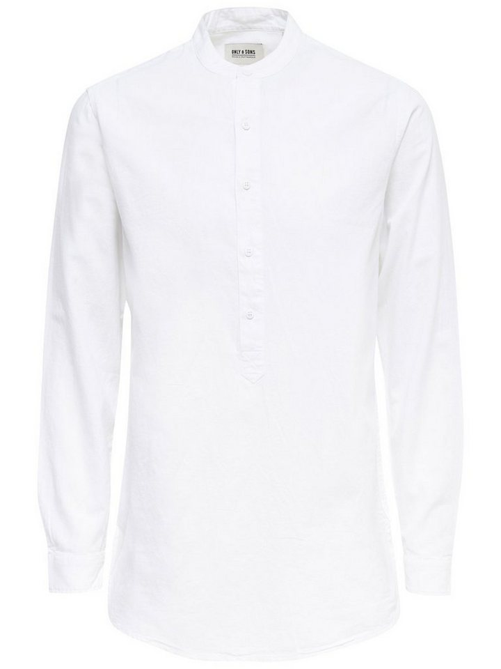 ONLY & SONS Slim Langarmhemd in White