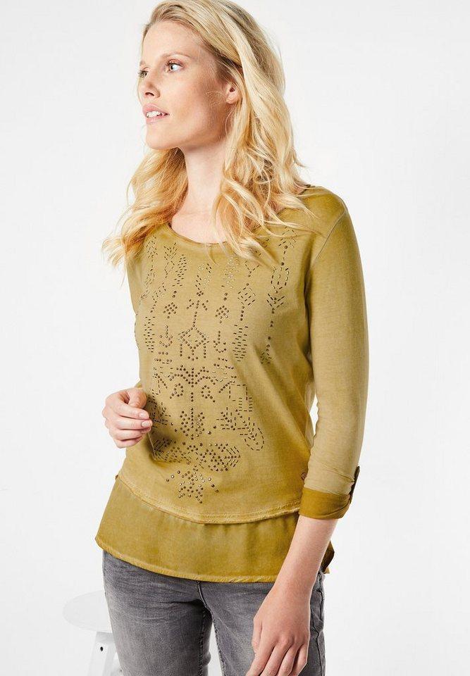 CECIL Langarmshirt im Materialmix in golden glow