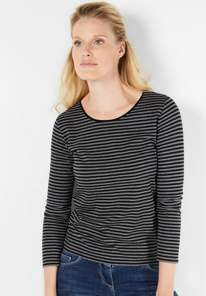 CECIL Weiches Streifenshirt Lucy in Black