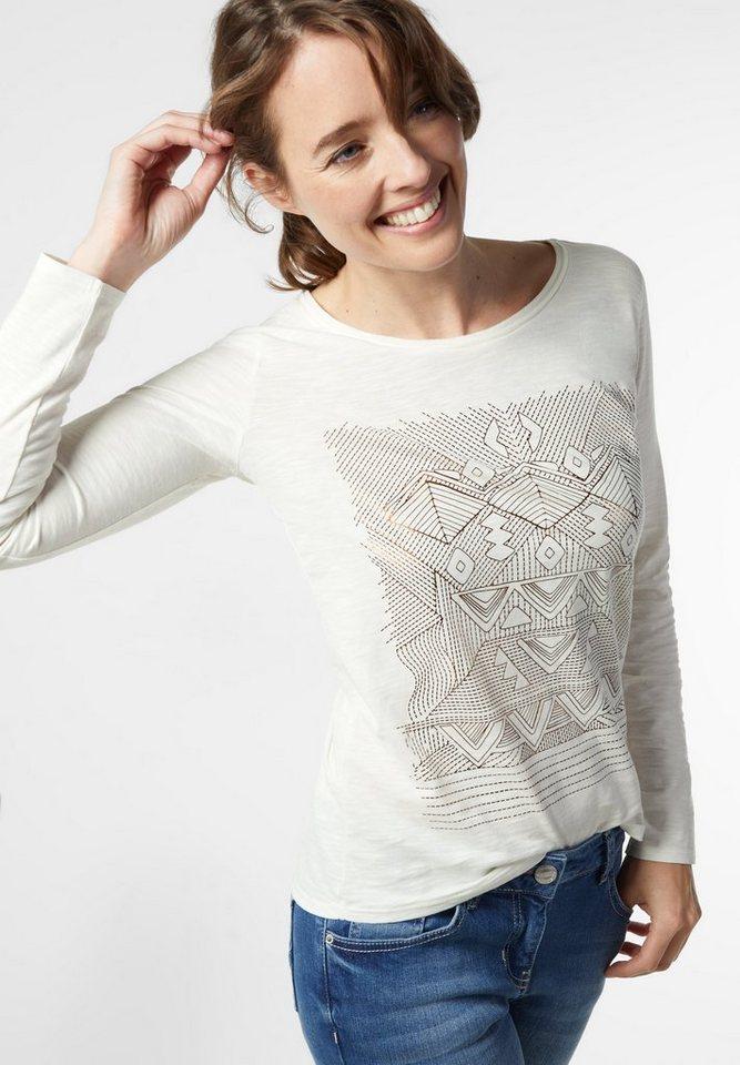 CECIL Langarmshirt mit Ethnoprint in pure off white