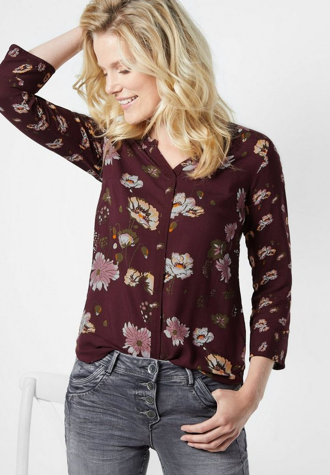 CECIL Bluse im floralen Patchprint in maroon red