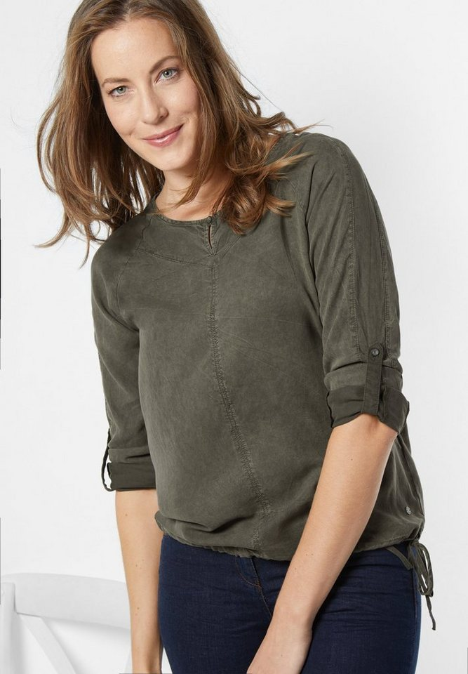 CECIL Bluse aus feinem Lyocell in deep olive