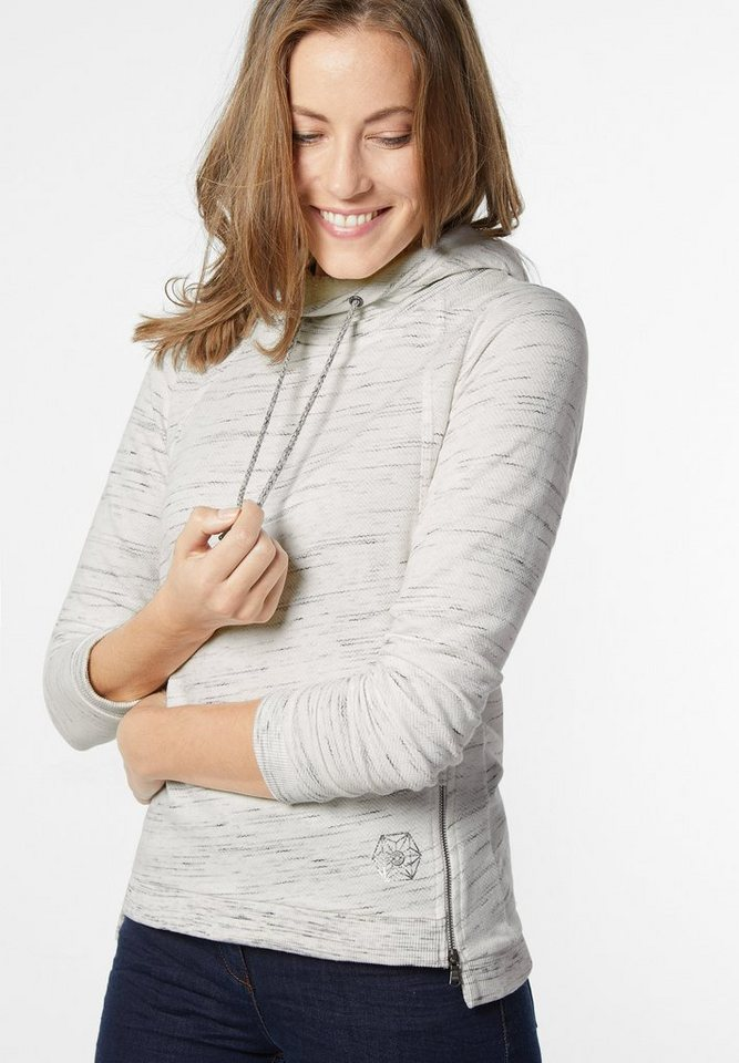 CECIL Weiches Shirt mit Hoody in stripy silver melang