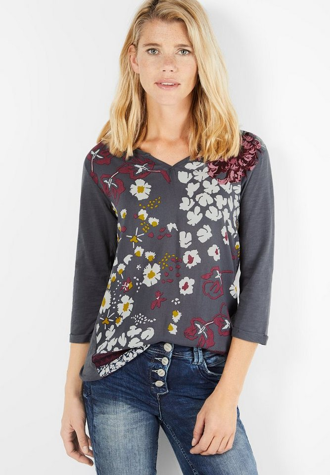 CECIL Shirt mit Blütenprint Front in dark silver