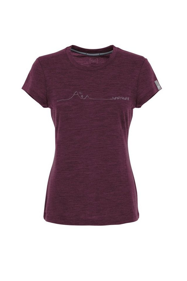 Super.Natural Merino T-Shirt »W GRAPHIC TEMPO CAP SLEEVE TEE« in CHIANTI MELANGE/MTNS