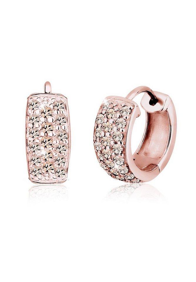 Elli Ohrringe »Creolen Swarovski® Kristalle Funkelnd 925 Silber« in Rosa
