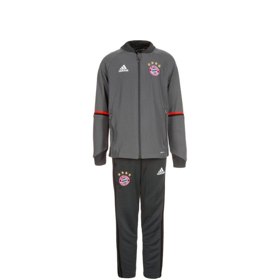 adidas Performance Set: FC Bayern München Trainingsanzug Kinder (Packung, 2 tlg.) in grau / schwarz / rot