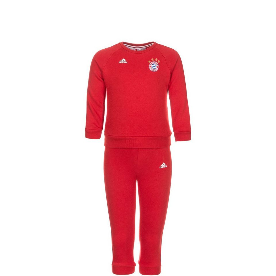 adidas Performance Set: FC Bayern München 3 Stripes Trainingsanzug Kleinkinder (Packung, 2 tlg.) in rot / weiß