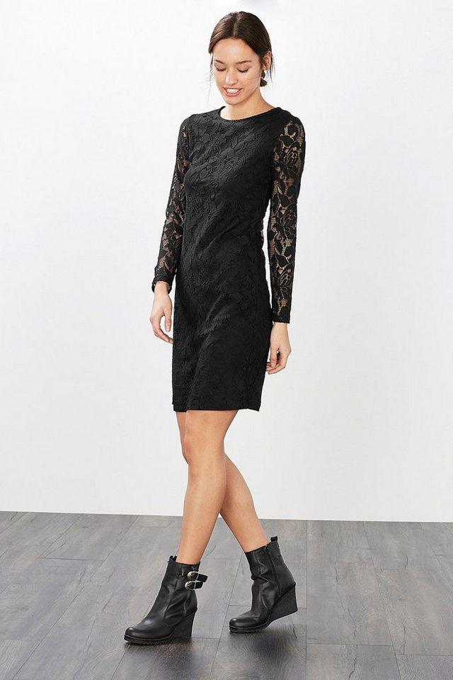 EDC Tailliertes Kleid aus floraler Spitze in BLACK