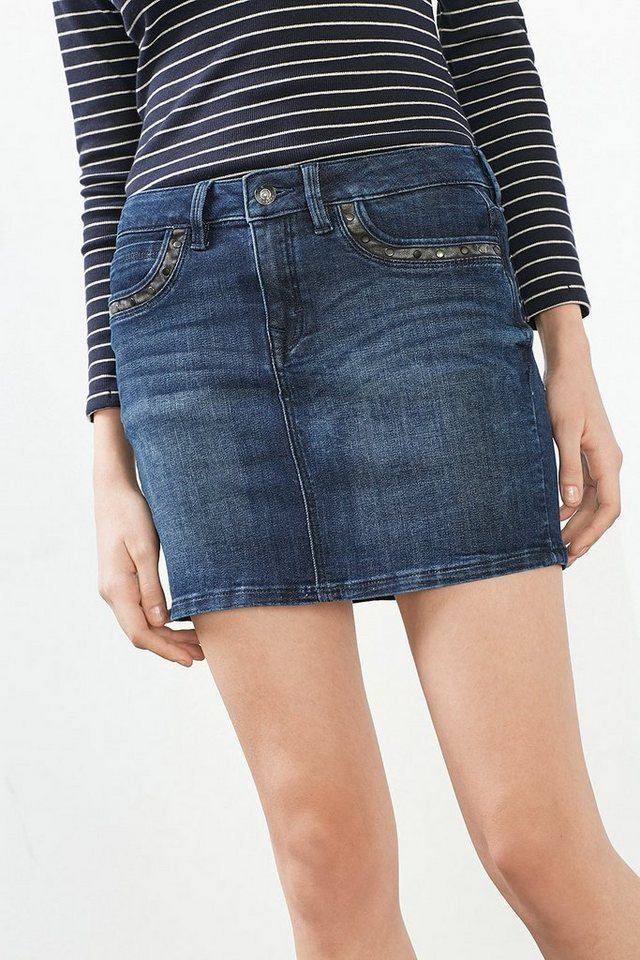 EDC Nieten-verzierter Jeans-Rock in BLUE MEDIUM WASHED