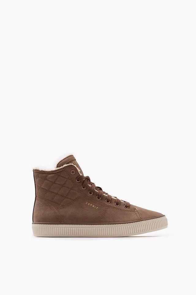 ESPRIT CASUAL High Top Sneaker mit Steppnähten in KHAKI BEIGE