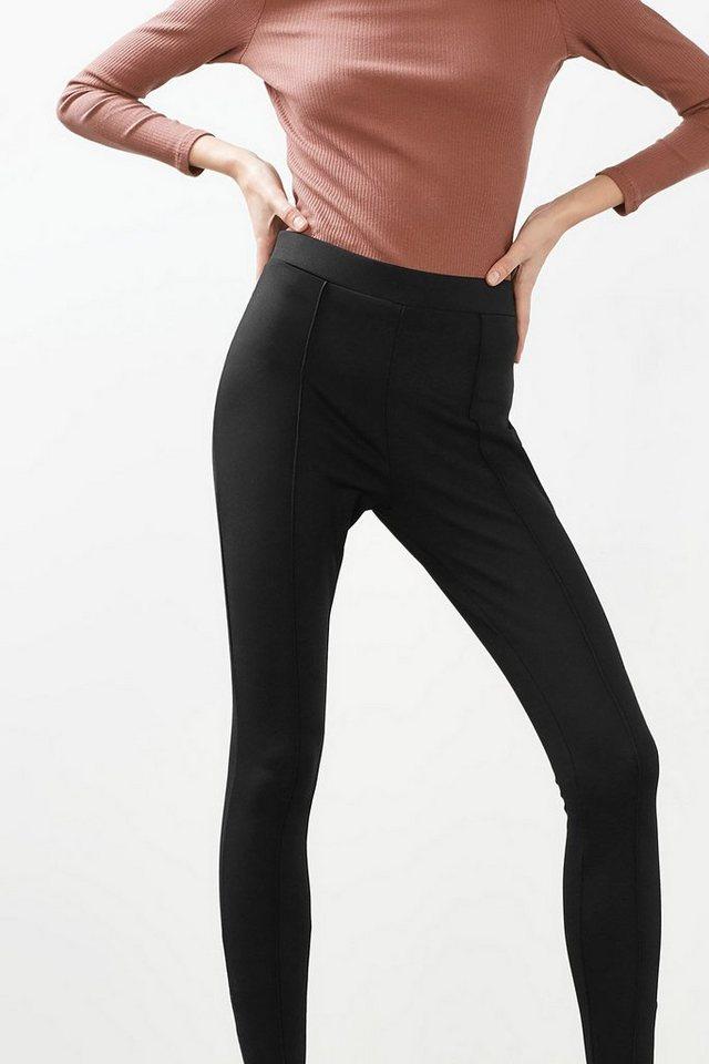 EDC Formende Stretch-Hose mit Zippern in BLACK
