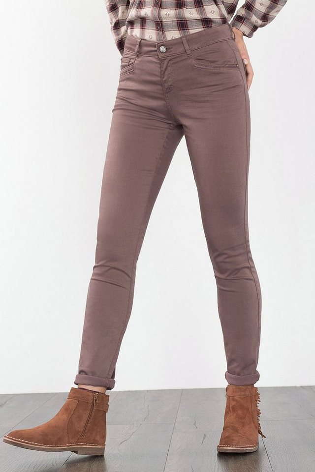 ESPRIT CASUAL Stretch-Hose aus glattem Baumwoll-Mix in TAUPE