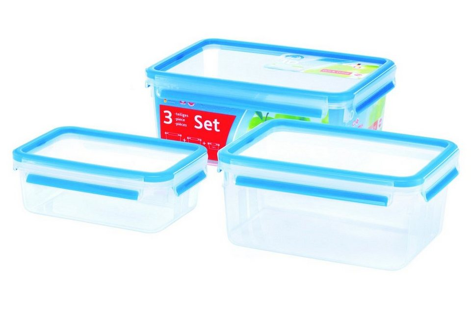 Emsa Dosen 3 tlg. 3D Perfect Clean »Clip & Close« in Transparent, Blau