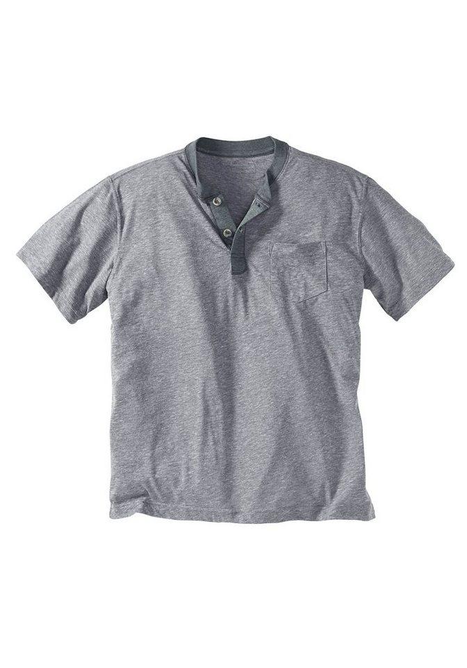 Eddie Bauer Henley-Shirt in Grau meliert