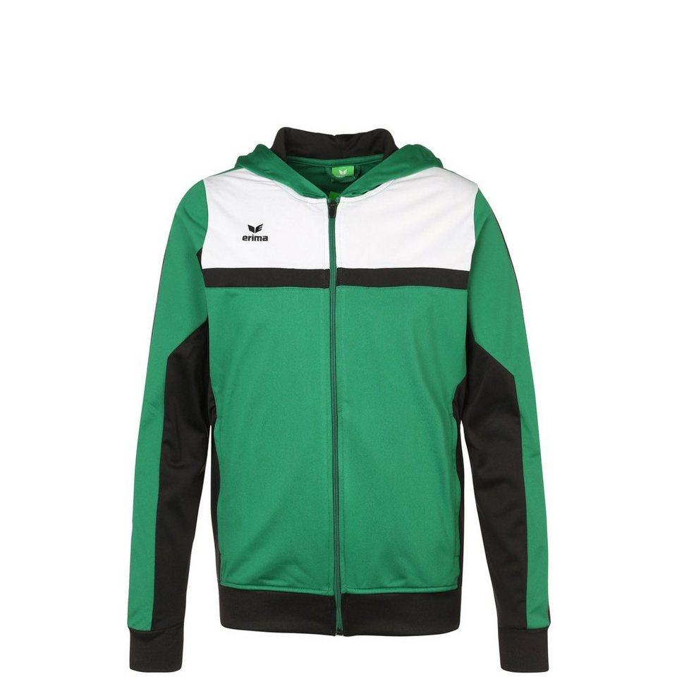 ERIMA 5-CUBES Trainingsjacke mit Kapuze Kinder in smaragd/schwarz/weiß
