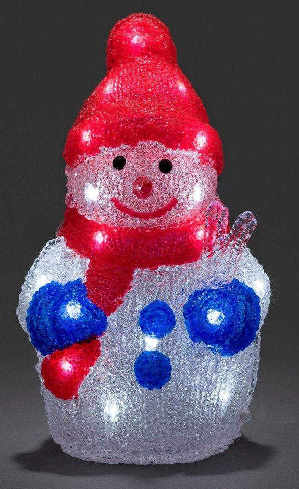 Konstsmide LED Acryl Schneemann in weiß, rot, blau