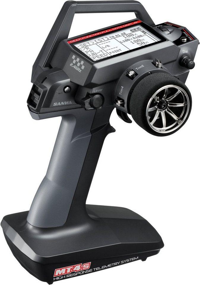 Sanwa 2,4 GHz Fernsteuerung für RC-Autos, »MT 4S Fernsteuer Set 2,4 GHz FH4T«