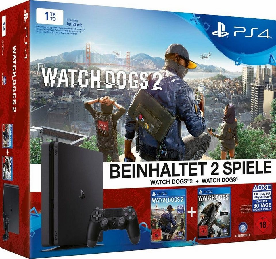 PlayStation 4 (PS4) 1TB + Watch Dogs + Watch Dogs 2 in schwarz