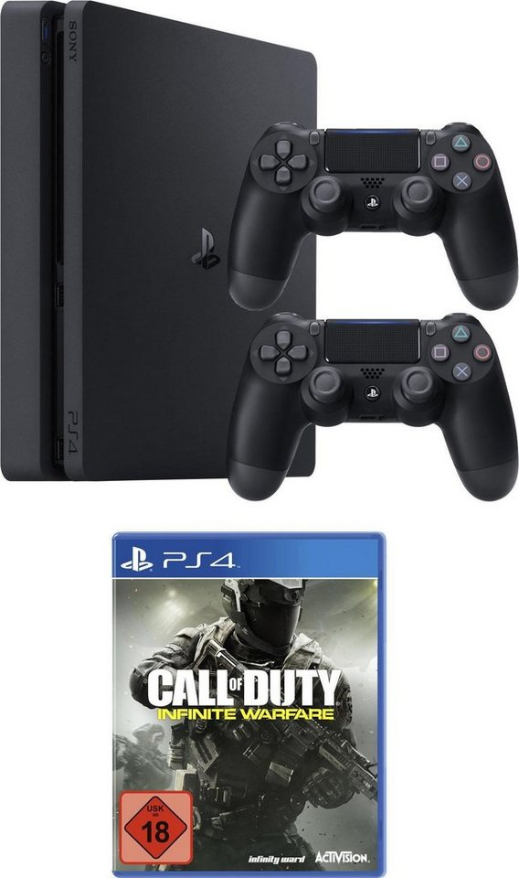 PlayStation 4 (PS4) 1TB Slim + Call of Duty: Infinite Warfare + 2. Controller in schwarz