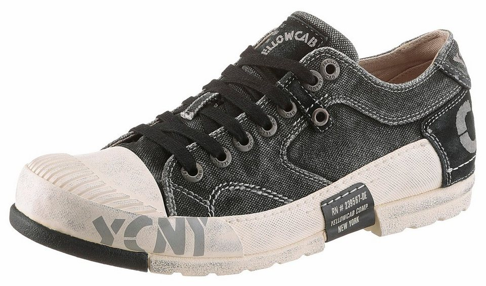 Yellow Cab Sneaker im Materialmix in schwarz-used