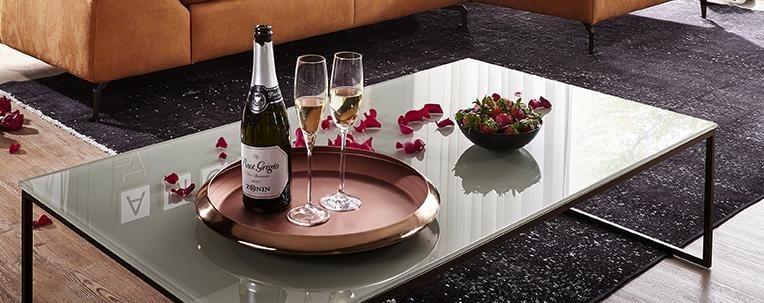 W.SCHILLIG Rechteckiger Couchtisch »copenhagen« mit Glastischplatte in Lackierte Glasplatte Cristall beige