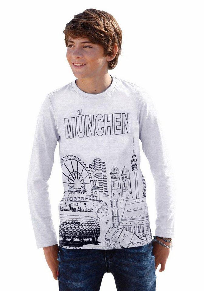 "Arizona Langarmshirt ""München"" in grau-meliert"