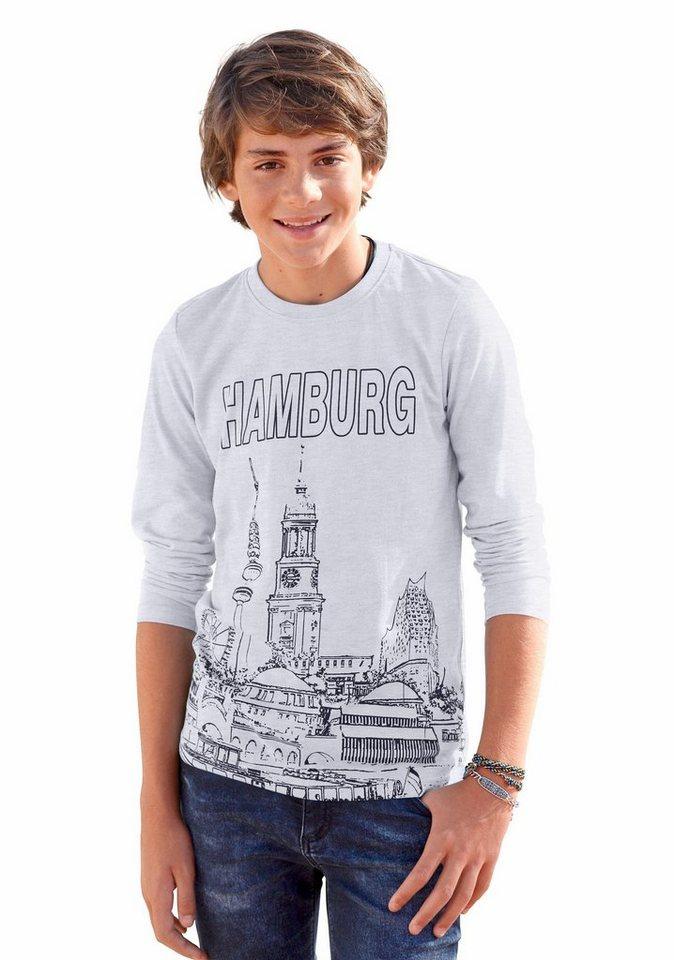 "Arizona Langarmshirt ""Hamburg"" in grau-meliert"
