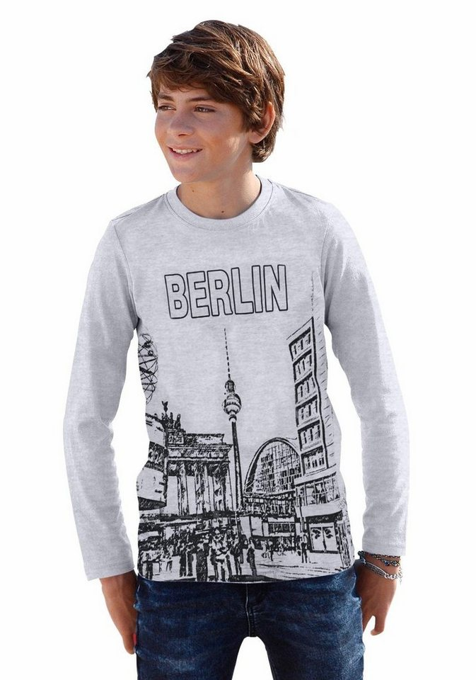 "Arizona Langarmshirt ""Berlin"" in grau-meliert"